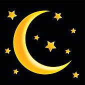 crescent moon and star vector symbol icon design.