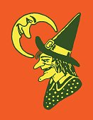 istock Crescent Moon and Witch Profile 1328213525