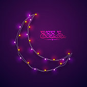 Crescent moon decorated with glowing lights and arabic calligraphy of text Eid Mubarak.
