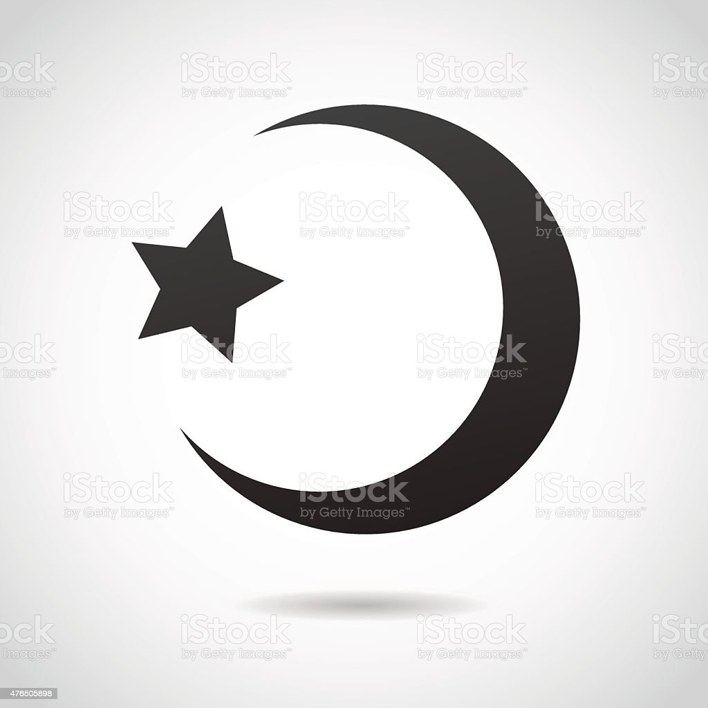 Crescent moon - islamic icon. vector art illustration