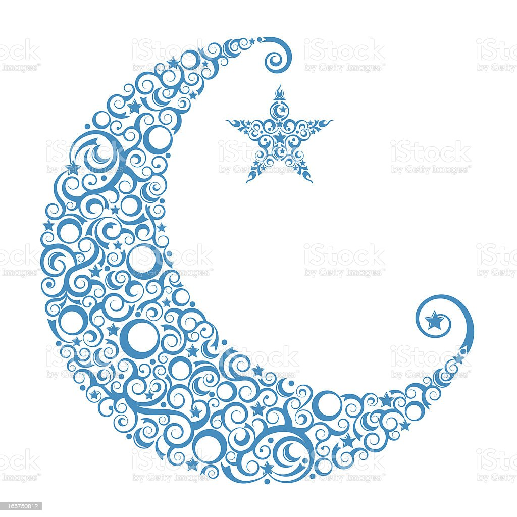 Crescent Moon & Star vector art illustration