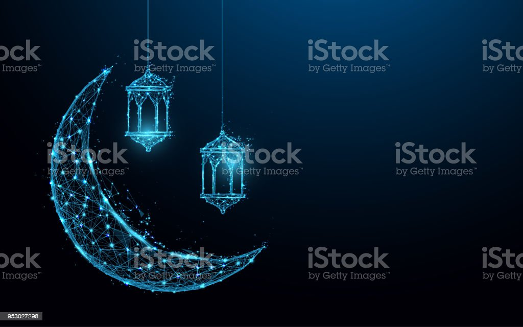 Crescent moon with hanging lamps Islamic Festival concept form lines and triangles, point connecting network on blue background. Illustration vector vector art illustration