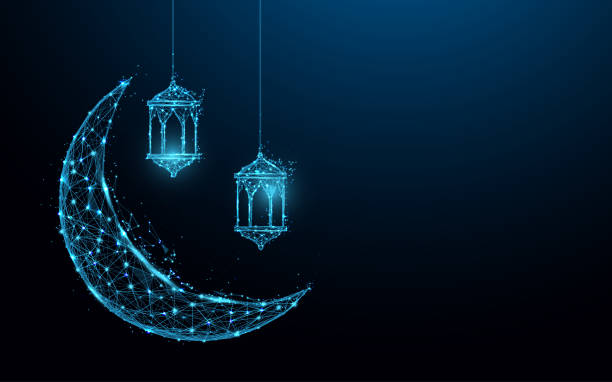 新月與掛燈伊斯蘭節日概念形成線和三角形, 點連接網路上的藍色背景。插圖向量 - 新月 幅插畫檔、美工圖案、卡通及圖標