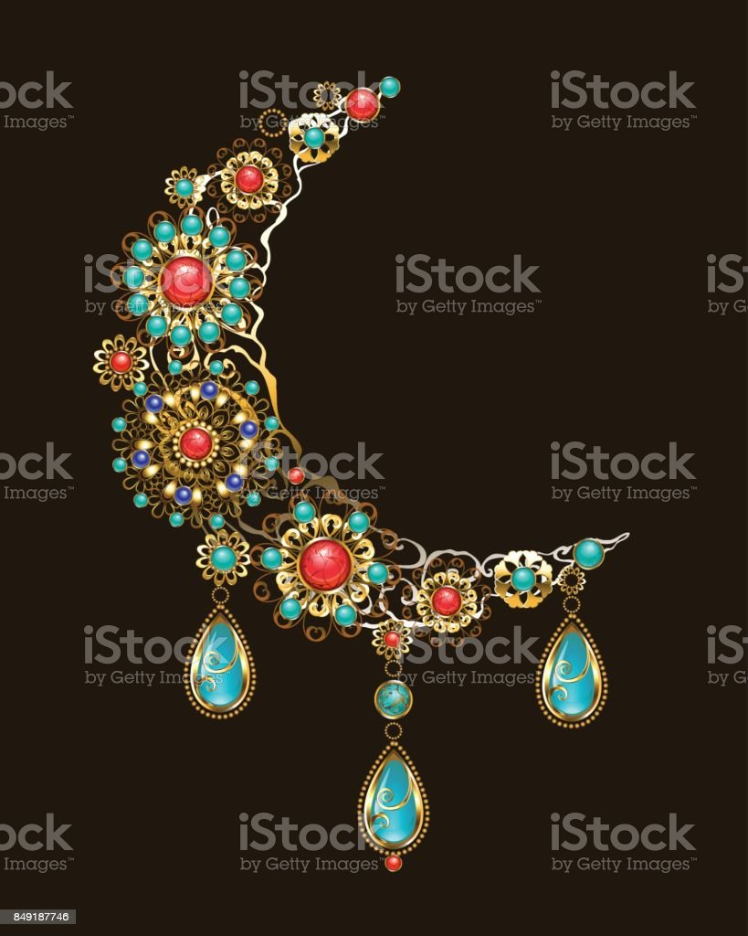 Crescent of ethnic ornaments vector art illustration