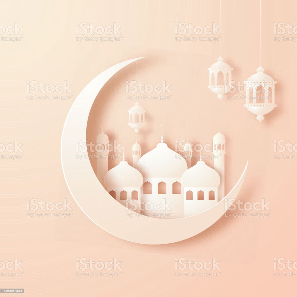 Crescent Paper Moon, Mosque And Hanging Lanterns On Beige Background.  Royalty Free Crescent