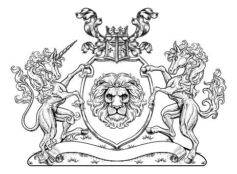 Crest Horse Unicorn Coat of Arms Lion Shield Seal