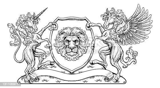 istock Crest Pegasus Unicorn Coat of Arms Lion Shield 1311059777