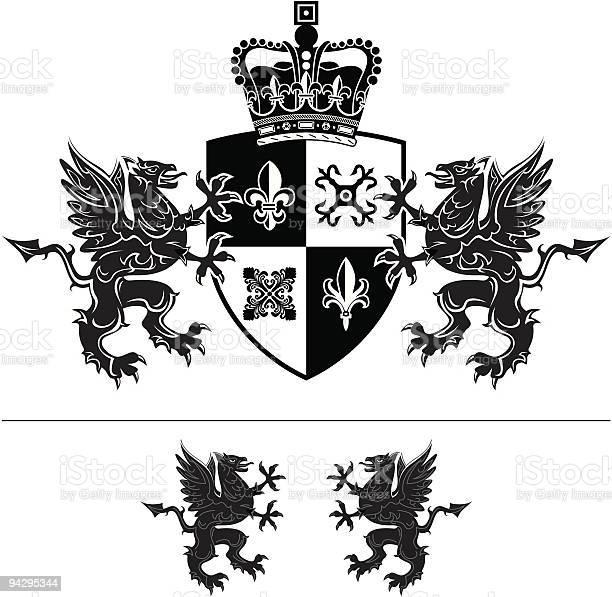 Mit Wappen Stock Vektor Art und mehr Bilder von Dekoration