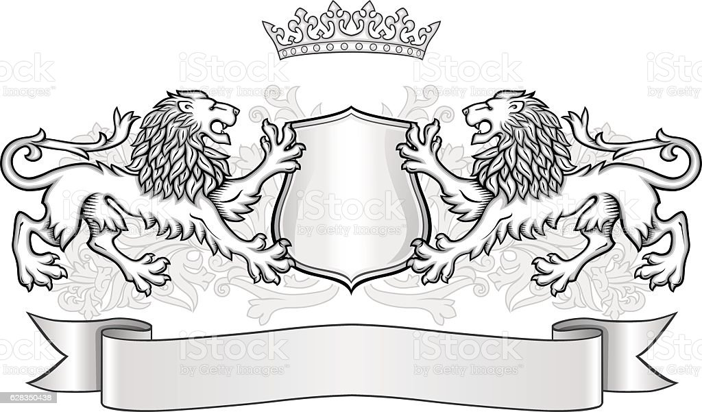 Crest with two lions, crown and a shield vector art illustration