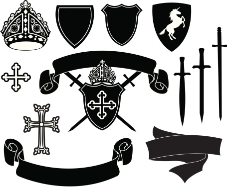 Crests - shields, cross, banners, unicorn and swords