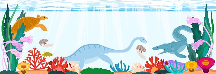 Cretaceous sea dinosaurs. Horizontal background material.