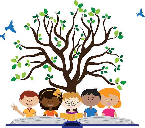 Crianças com um livro aberto e uma árvore da sabedoria. Crianças com um livro aberto e uma árvore da sabedoria. livro aberto stock illustrations