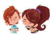 Ilustração de duas crianças, um menino e uma menina fazendo semblante de chateação e reprovação, uma dupla de birrentos.