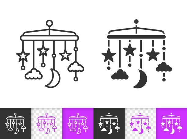 ilustrações, clipart, desenhos animados e ícones de ícone de vetor de linha preta simples suspensão da ucha - mobile