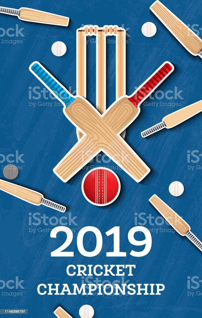 Cricket 2019 Flyer. Player Bat and Ball. Cricket Sports Background....