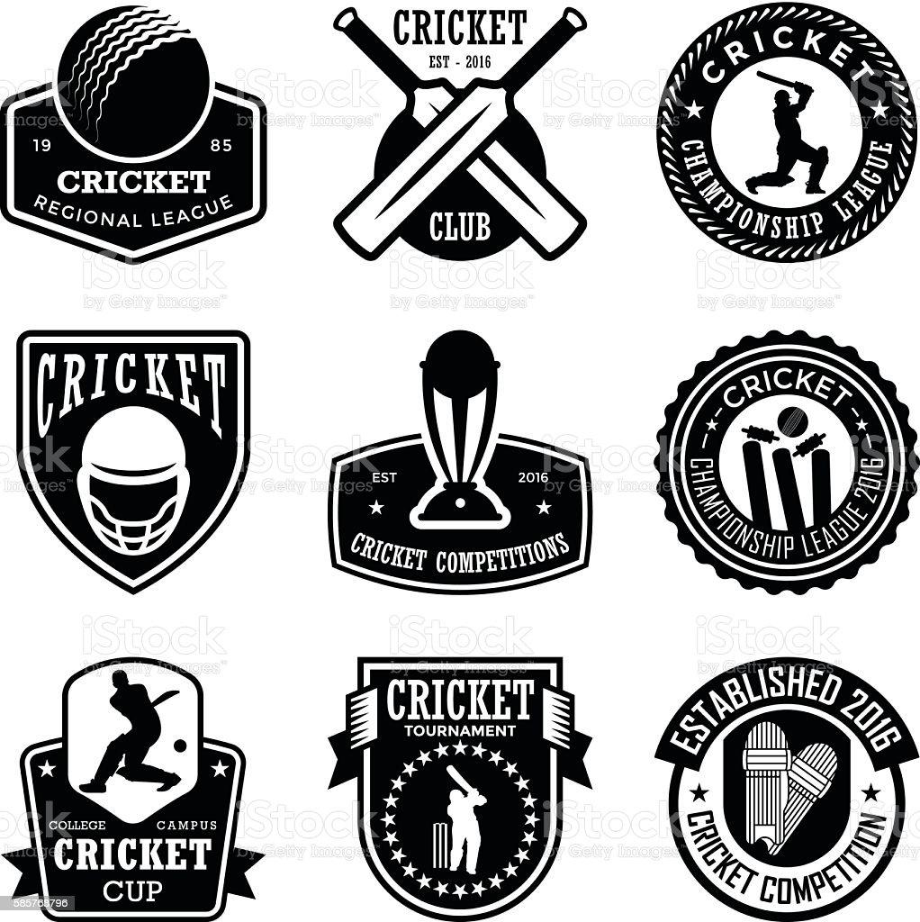 Cricket Badges vector art illustration