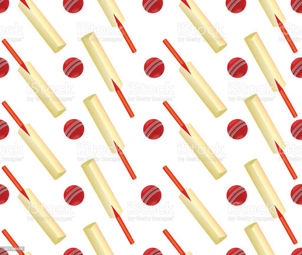 Cricket Ball And Bat Seamless Design vector art illustration