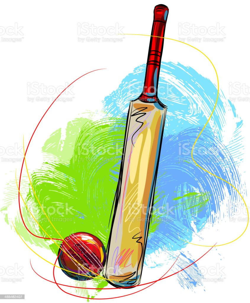 Cricket Ball and Bat vector art illustration