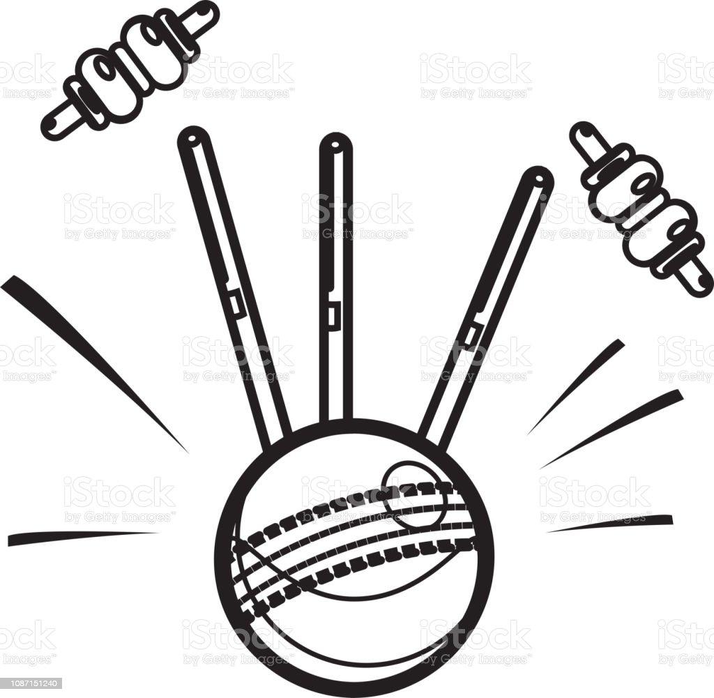 Cricket Ball - Bowled Action - Illustration