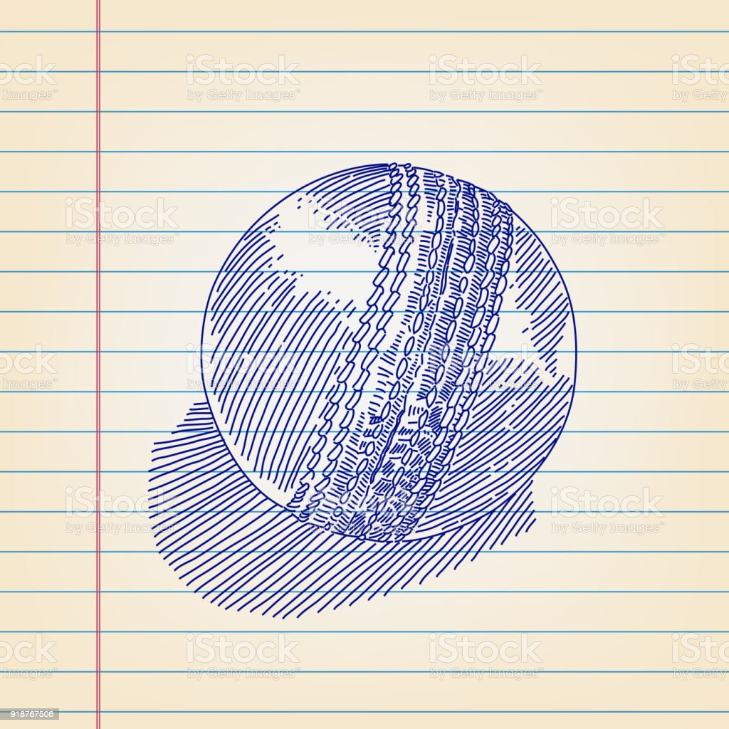 Cricket ball Drawing on Lined paper