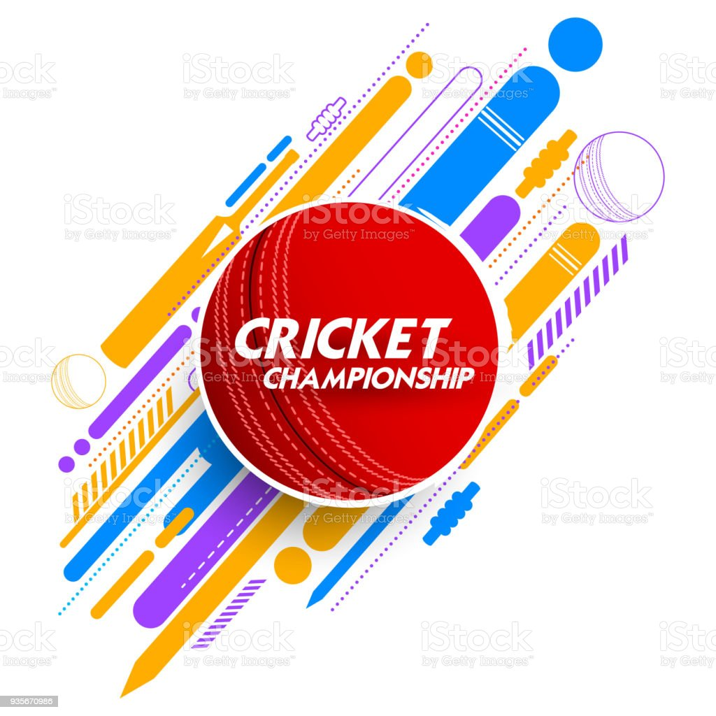 Cricket ball in abstract background vector art illustration