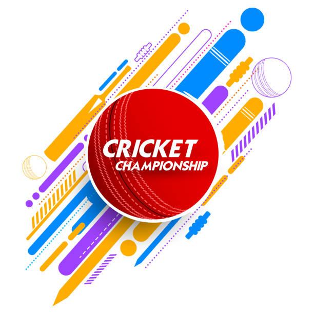 ilustraciones, imágenes clip art, dibujos animados e iconos de stock de pelota de cricket en antecedentes - críquet
