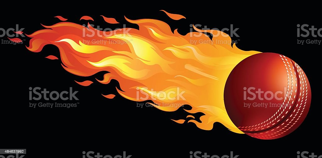 Cricket ball on fire