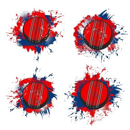 Cricket ball, sport equipment grunge banners