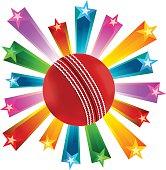 Cricket Ball With Star Burst Background