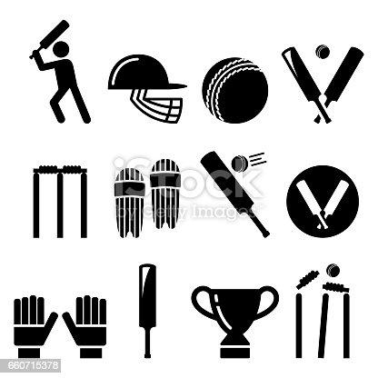 Cricket bat, man playing cricket, cricket equipment - sport icons set