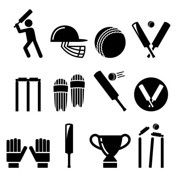 kricketschläger, mann spielen cricket, cricket ausrüstung - sport icons set - cricket stock-grafiken, -clipart, -cartoons und -symbole