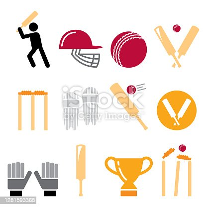 Cricket bat, man playing cricket, cricket equipment - sport vector icons set