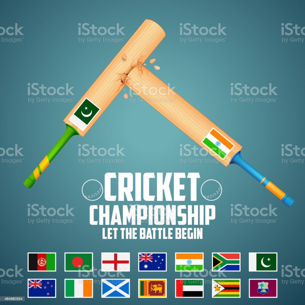 Cricket bat of different participating countries vector art illustration