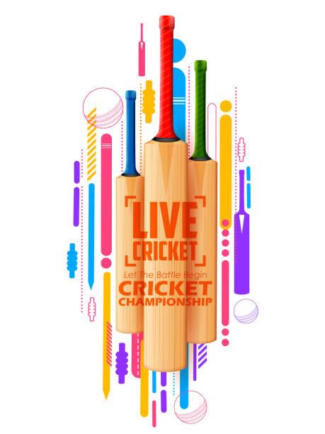 kricketschläger auf sportlichen hintergrund - cricket stock-grafiken, -clipart, -cartoons und -symbole