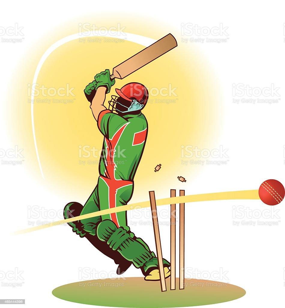 Cricket Batsman Gets Bowled Out Loosing His Wicket vector art illustration