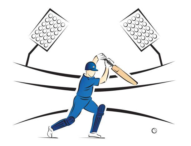 cricket batsman spielen einen schuss in einem stadion - vektor-illustration - cricket stock-grafiken, -clipart, -cartoons und -symbole