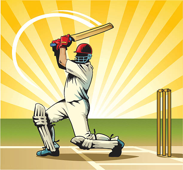 cricket schlagmann - cricket stock-grafiken, -clipart, -cartoons und -symbole