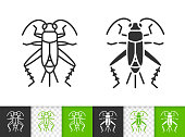 Cricket Bug simple black outline vector icon