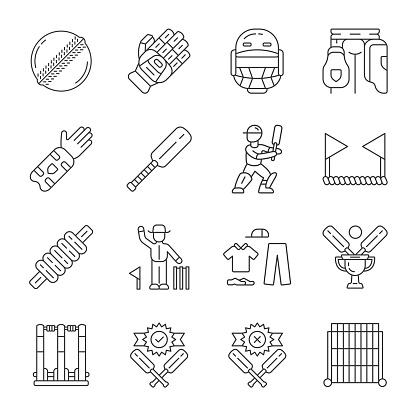 Cricket championship linear icons set. Sport uniform, protective gear, game equipment. Match preparation. Thin line contour symbols. Isolated vector outline illustrations. Editable stroke