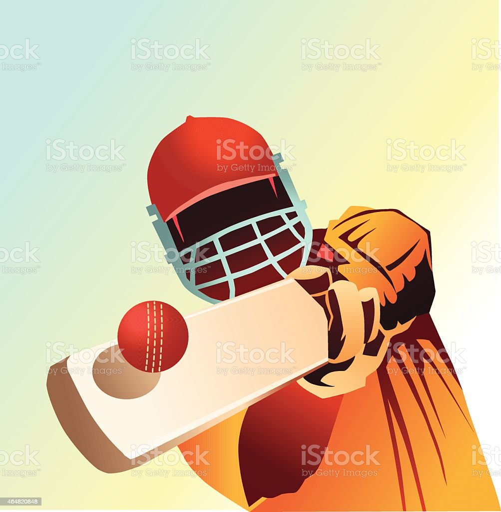 Cricket-Gros plan d'un batteur de balle incroyable - Illustration vectorielle