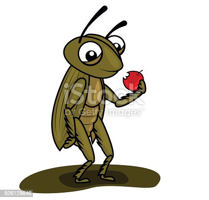 brown cricket eating a apple
