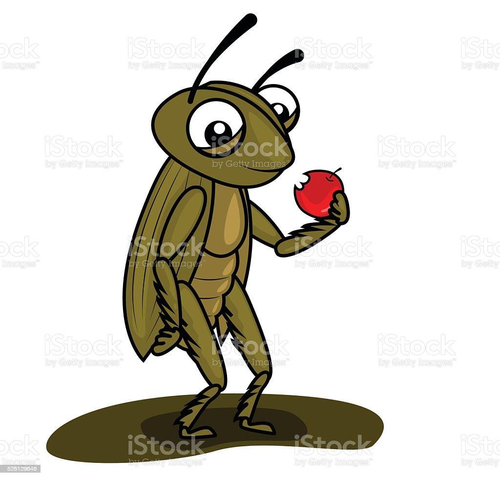 cricket eating a apple vector art illustration