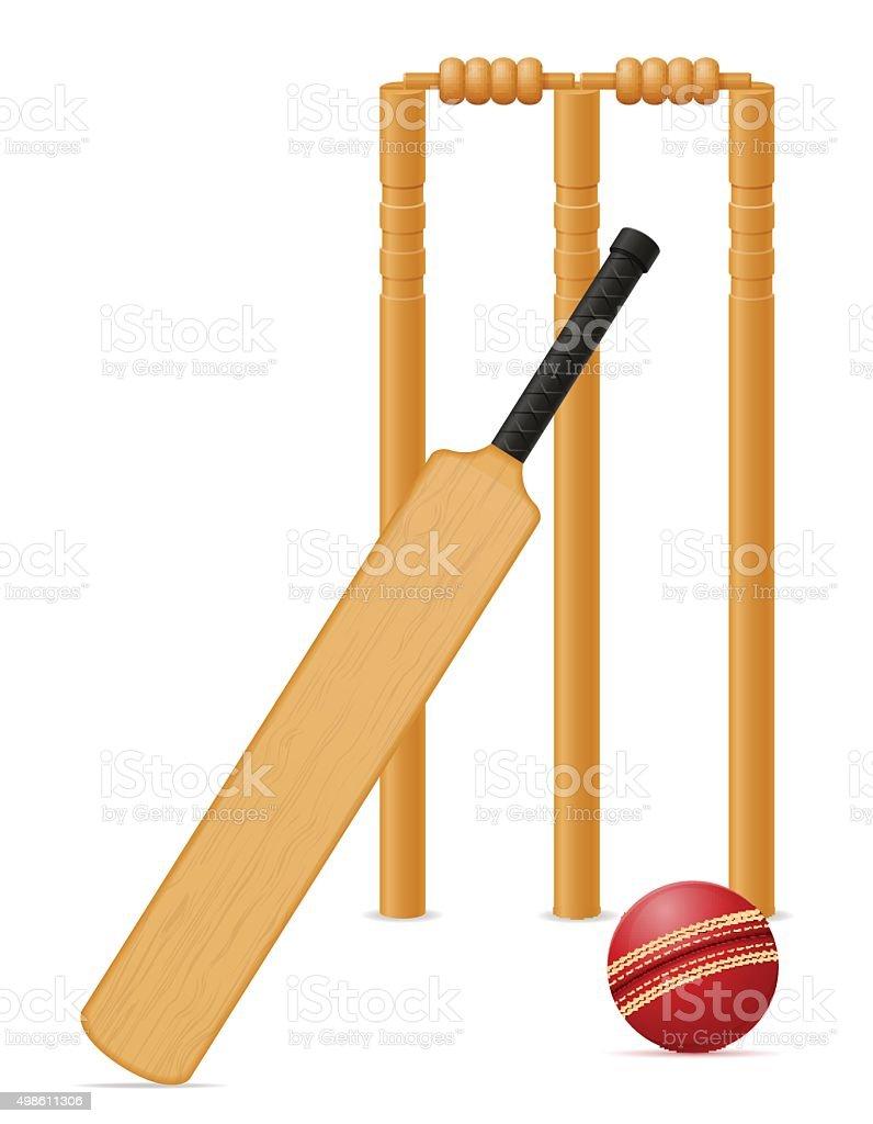 Equipo de críquet de bat y wicket ilustración vectorial bola - ilustración de arte vectorial