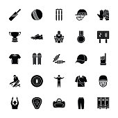 Cricket Glyph Vector Icons Set