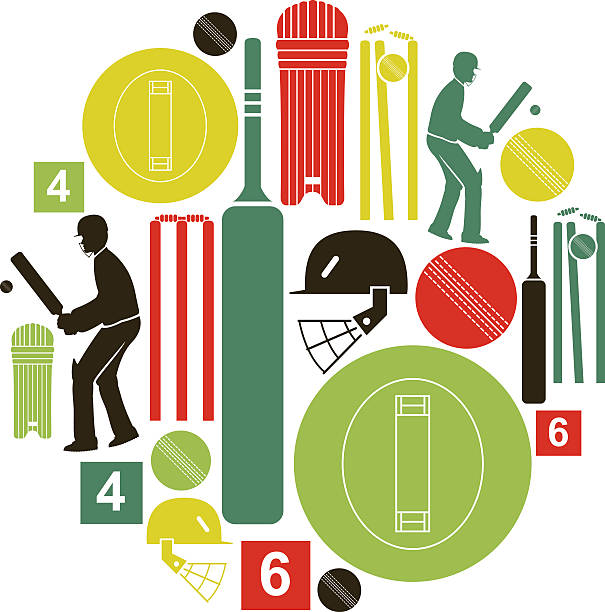 ilustraciones, imágenes clip art, dibujos animados e iconos de stock de conjunto de iconos de críquet - críquet