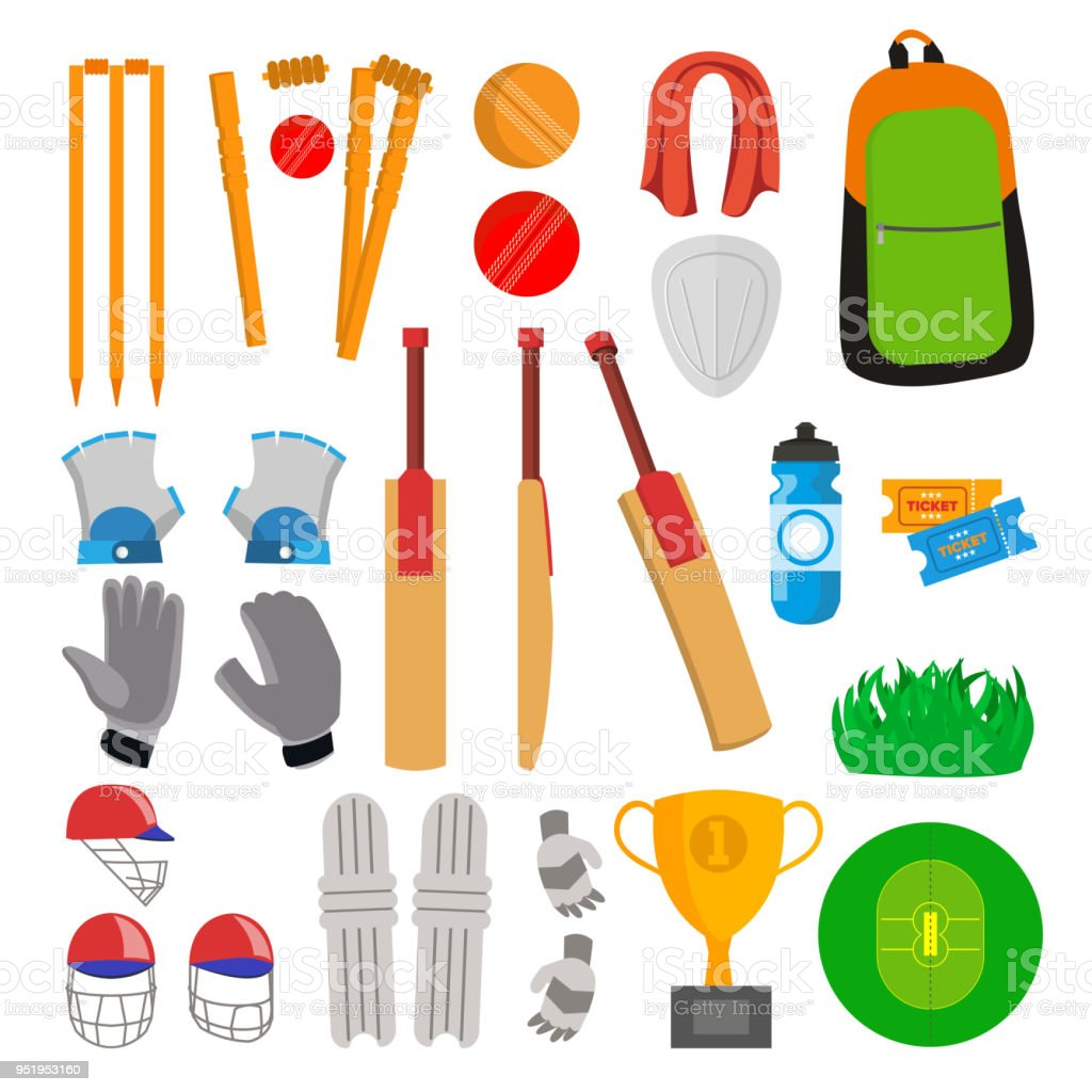 Cricket Icons Set Vector. Accessoires de cricket. Bat, gants, casque, Ball, coupe du terrain de jeu. Isolé de plate bande dessinée Illustration - Illustration vectorielle