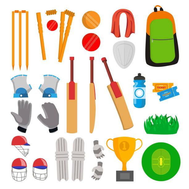 ilustraciones, imágenes clip art, dibujos animados e iconos de stock de cricket icons set vector. accesorios de cricket. bate, guantes, casco, pelota, taza, campo de juego. aislado plano dibujos animados ilustración - críquet