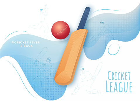 Cricket League Concept with Realistic Bat, Red Ball and Line Art Players on White and Blue Wave Background.