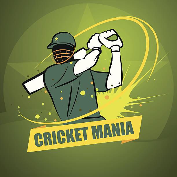 ilustraciones, imágenes clip art, dibujos animados e iconos de stock de cricket manía pakistán - críquet