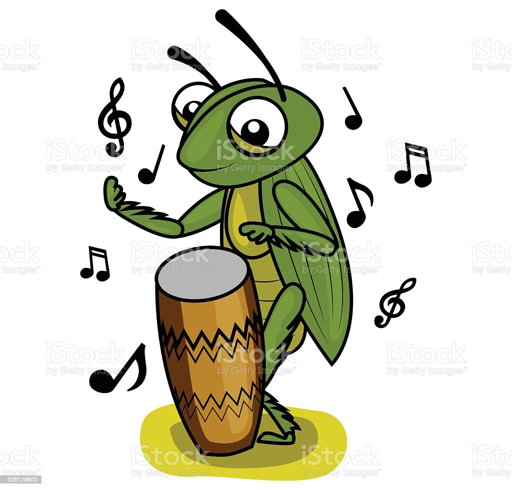 cricket music drum player vector art illustration
